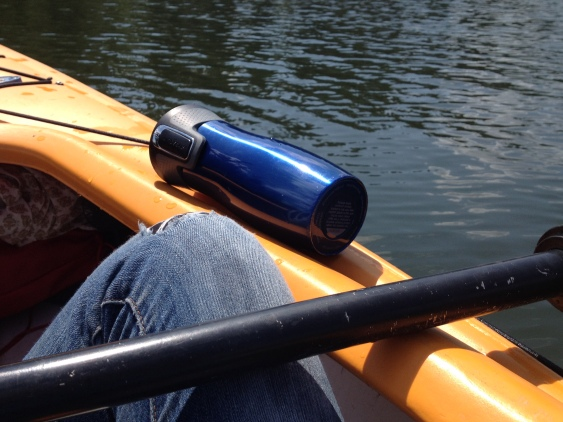 "My ""Raodtrips"" here take place in a kayak, and my faithfull to-go mug comes along."
